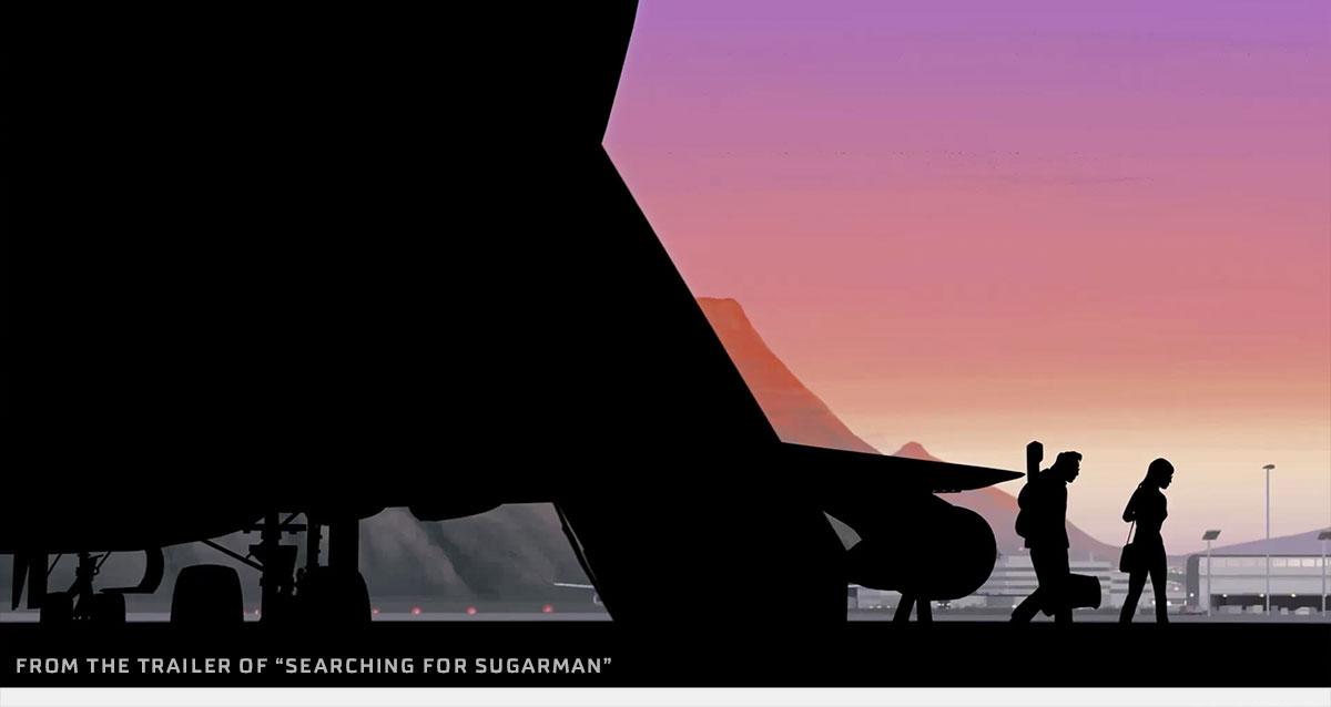 I en smukt animeret scene i filmen ankommer Rodriguez til Sydafrika.