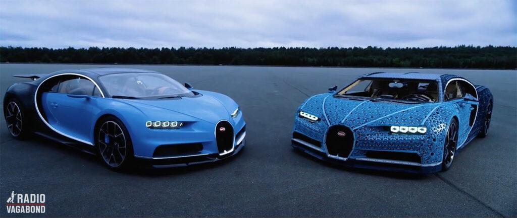 En rigtig Bugatti Chiron og en, der er lavet i LEGO Technic.