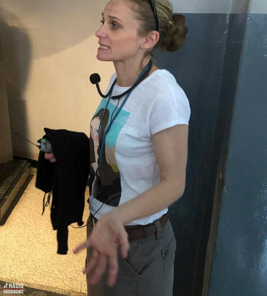 Jeg anbefaler, at du lejer hovedtelefoner, der trådløst er forbundet til guidens mikrofon.