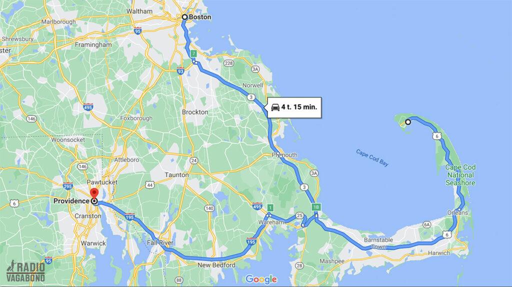 Min tur fra Boston to Providence, Rhode Island var via Cape Cod