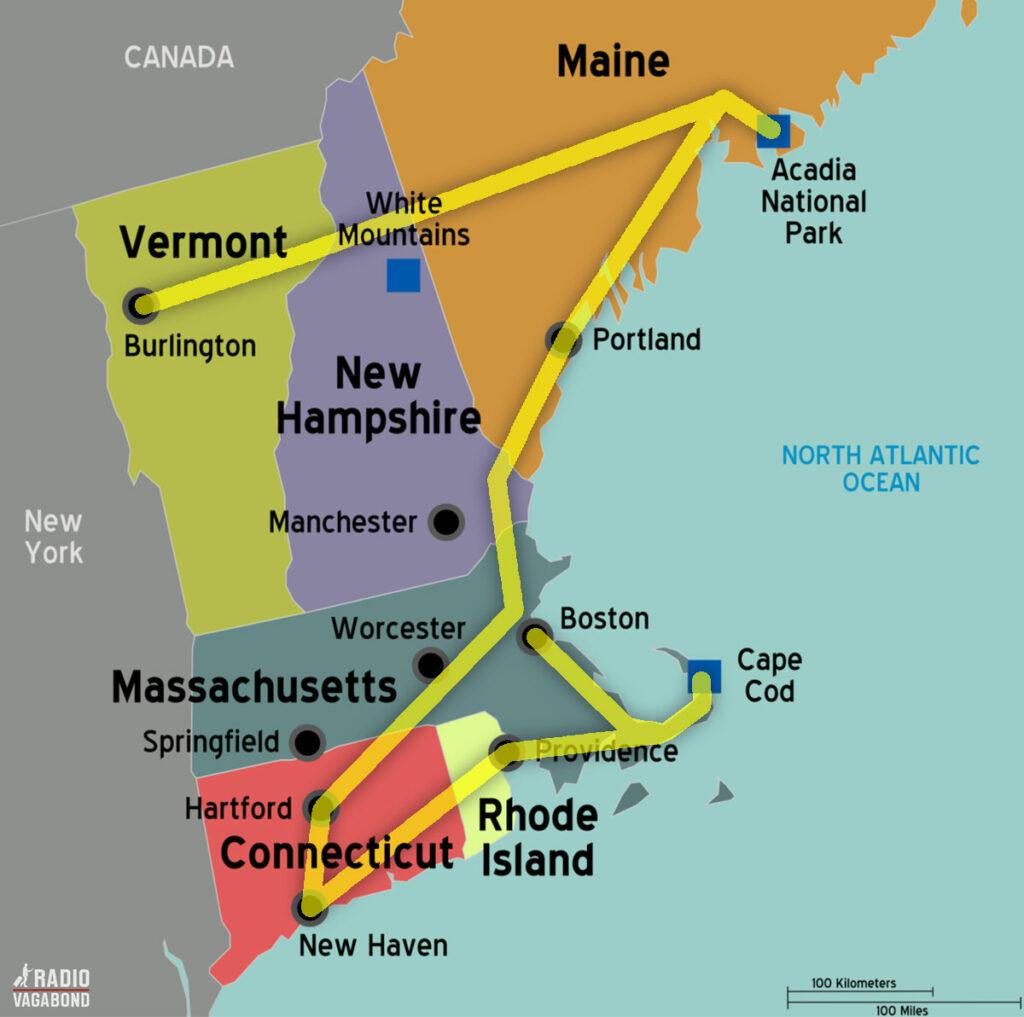 Så er jeg nået til vejs ende på min New England road trip –og her kan du se min rute.