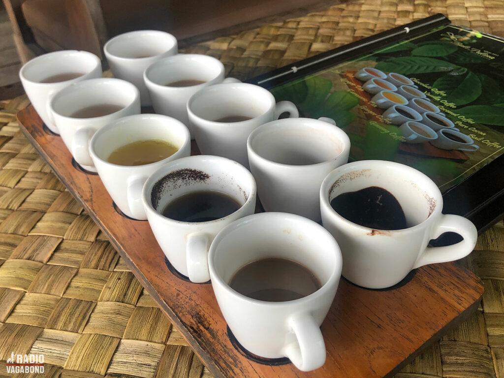 Vi fik serveret 10 små kopper med smagsprøver.